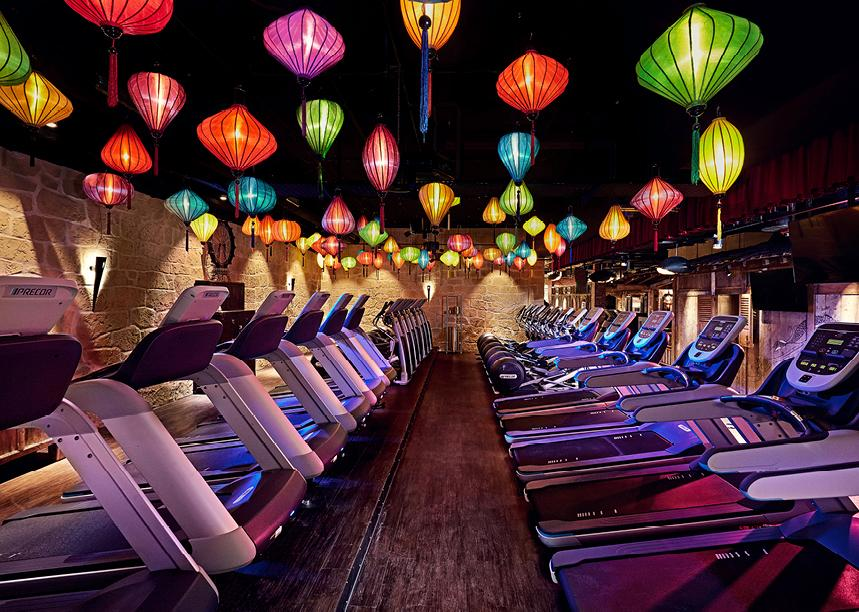 Paper lanterns light up the treadmill area / John Reed