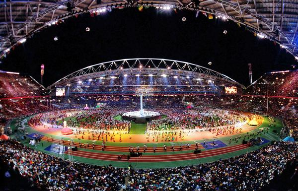 A view of Stadium Australia during the Olympic Games Closing Ceremony in 2000