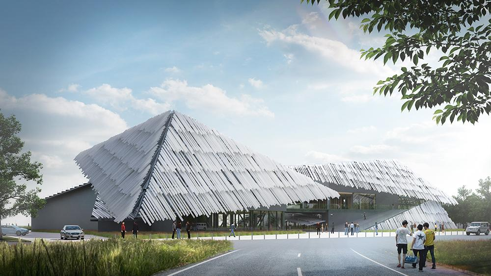 Formed of angled aluminium panels, the roof is shaped to resemble the Chinese character for the number eight / Kengo Kuma and Associates