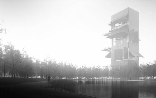 A rendering of the planned artists' studios that will be positioned along a promenade  / Ateliers Jean Nouvel