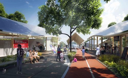 Cycle and running paths will connect the districts / MAD Architects