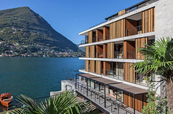 The hotel's linear, boxy form was inspired by Giuseppe Terragni's Casa del Fascio in Como
