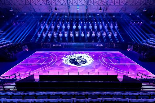 The LED court can produce almost any graphic or overlay. / Nike