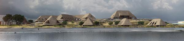 The buildings at the Lanserhof resort on the island of Sylt will feature reed roofs