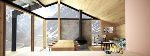 Designed as a 'social cabin', the layout gives priority to the common areas / Snøhetta