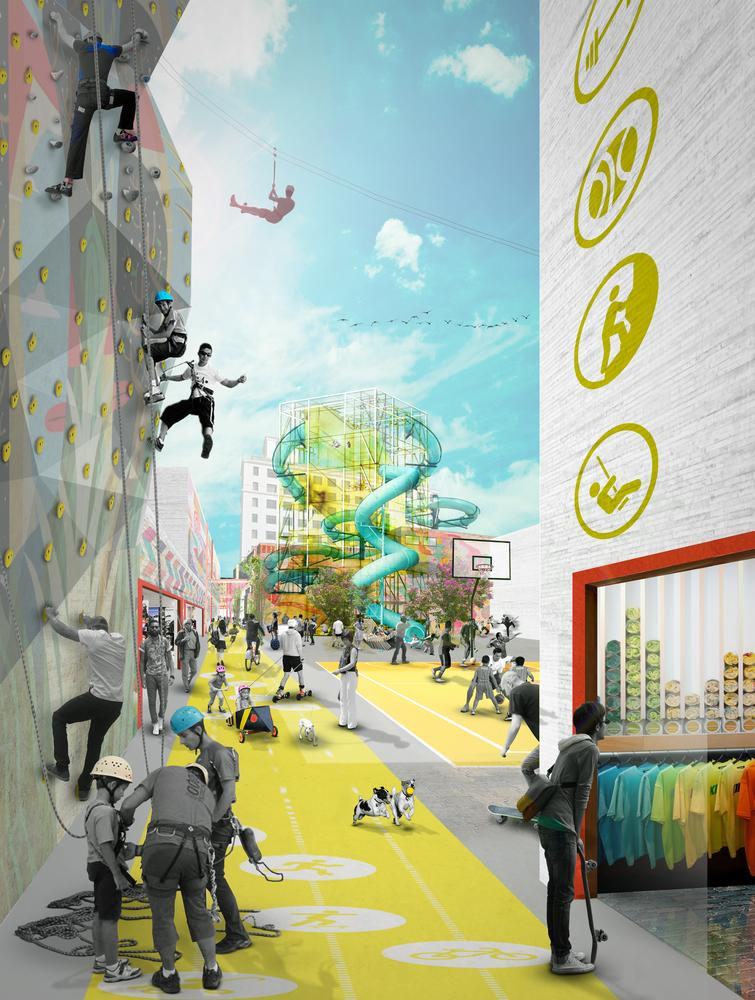 Vibrant thematic alleyways hosting rock climbing walls, interactive exhibition spaces and immersive foliage connect the attractions / Open Shore
