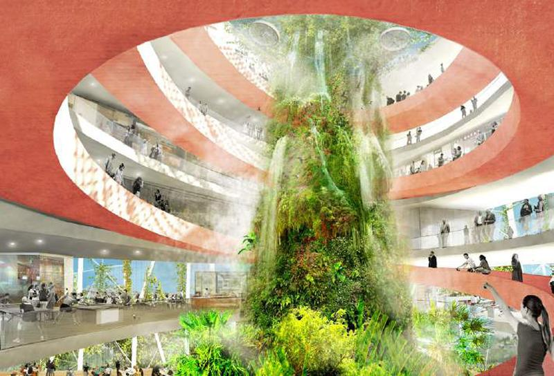 Public bioclimatic domes adorned with hanging gardens lie at the heart of the scheme / Open Shore