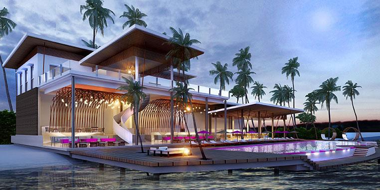 The Maldives resort is designed by Singapore design group Miaja 'in a scheme that blends superyacht panache with a vibrant South Beach pulse'