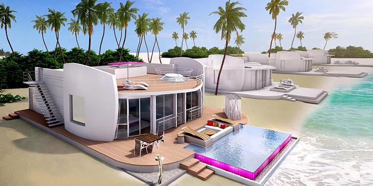 Each of the 60 double-storey residences sits on the beach or overwater, with a minimum living area of 255sq m (2,745sq ft)