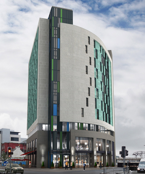 The 12-storey hotel is located near Cardiff Central railway station