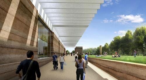 A precast concrete roof canopy will insulate the building and partly cover the outdoor public space / Foster + Partners