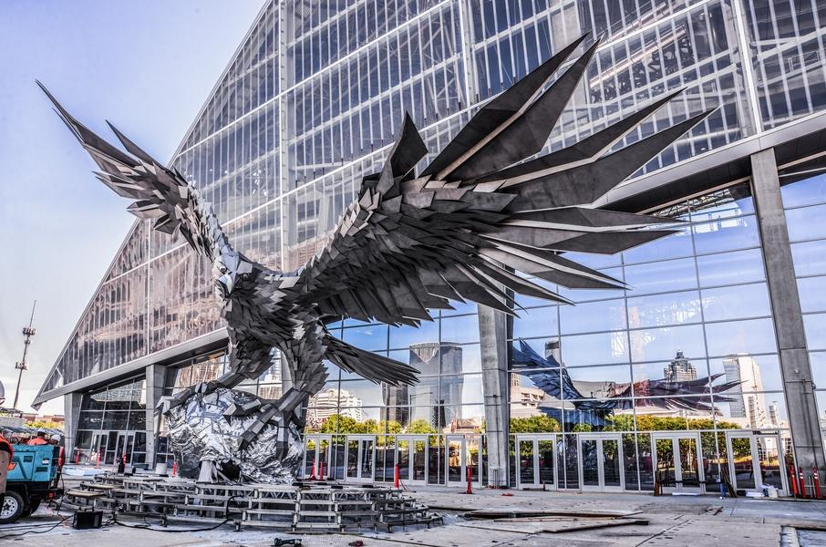 Sports news from sports management magazine enormous for Mercedes benz stadium falcon statue