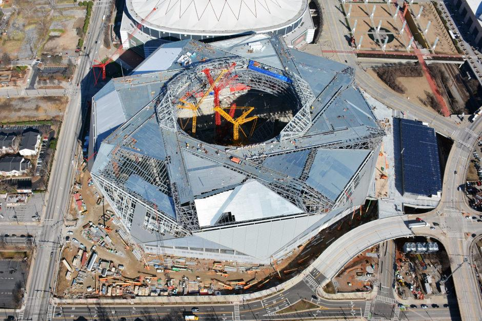 The Mercedes-Benz Stadium is scheduled to open 26 August for a preseason game against the Arizona Cardinals / Mercedes Benz Stadium
