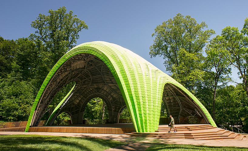 Located in Merriweather Park, Columbia, The Chrysalis is formed of a collection of cascading meshed aluminium arches that vary in size and function / TheVeryMany