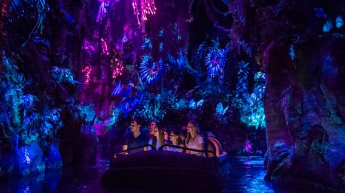The family friendly Na'vi River Journey takes guests into a bioluminescent rainforest in search of the Na'vi Shaman of Songs