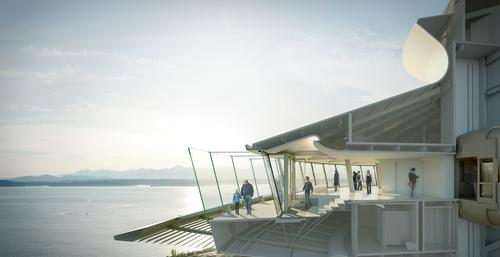 Renovations on the Observation Deck including the new exterior glass barriers and additional doors and stairways with increased accessibility from the interior and exterior areas / Olson Kundig
