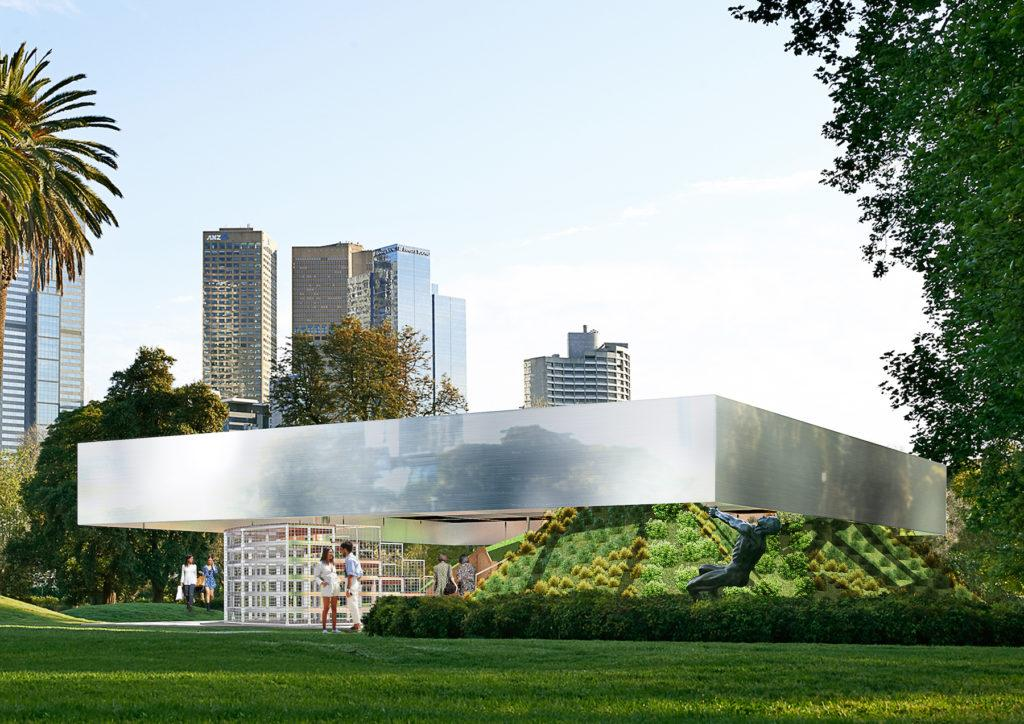 A circular wooden base with a rotatable component allows the seating configuration to be altered / MPavilion
