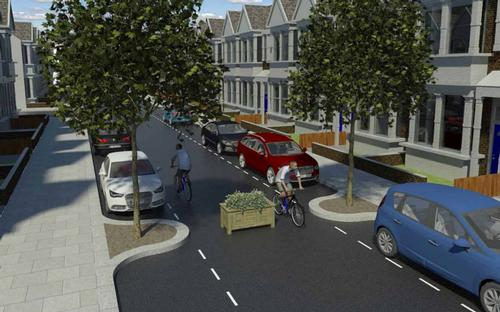 Residential street in Waltham Forest with proposed new cycle paths  / Waltham Forest Council