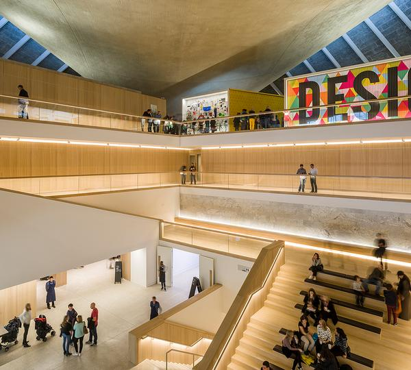 Pawson designed the large atrium so that it frames the views of the original roof