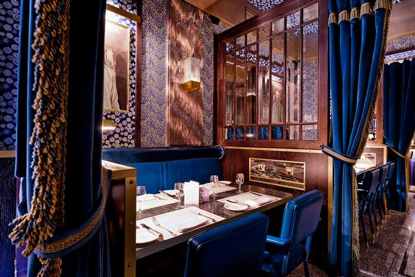 Brasserie Bob Bob Ricard features a Blue Dining Room inspired  by the Orient Express
