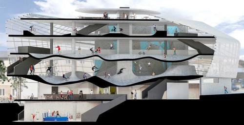 The multi-level skate park plan is the first of its kind / Guy Hollaway Architects