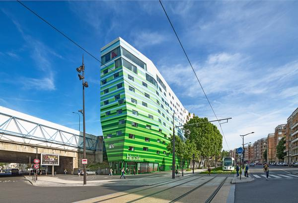 Gautrand's Hipark Hotel Paris La Villette fades from a bold green to white