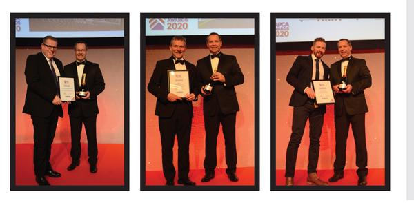 This year's awards winners Polytan (innovation of the year, left); TGMS (project of the year, middle) and Sports Labs (product of the year, right)