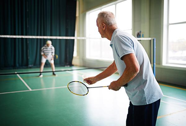 Badminton is the most popular fitness activity for both sexes from age 55-64