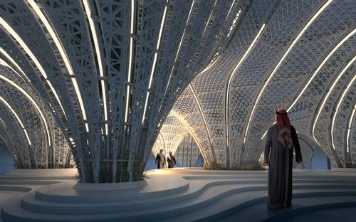 The pavilion is a hybrid of a 3D-printed polymer shell on 3D-printed concrete topography / Brick Visual