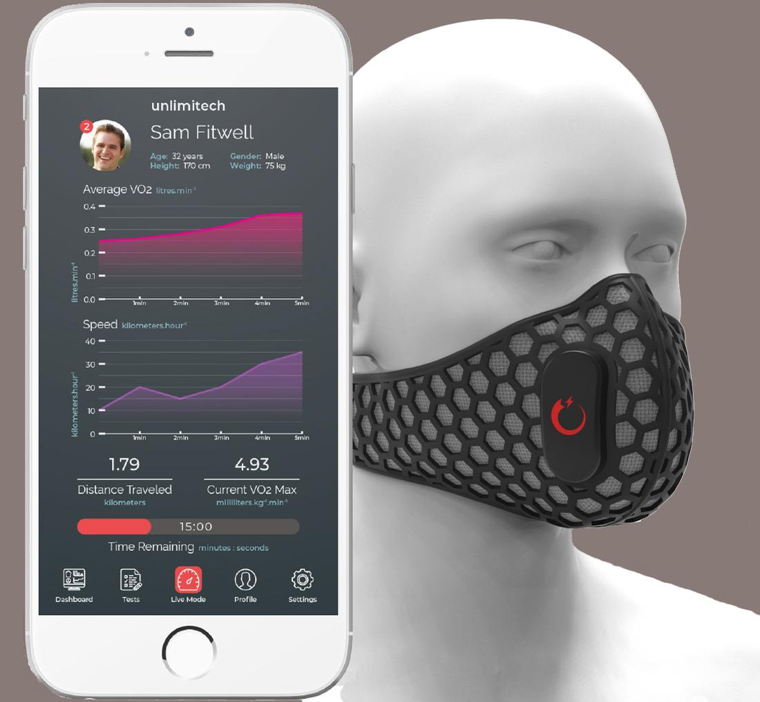 The mask is capable of measuring a number of performance-related indicators / Unlimitech