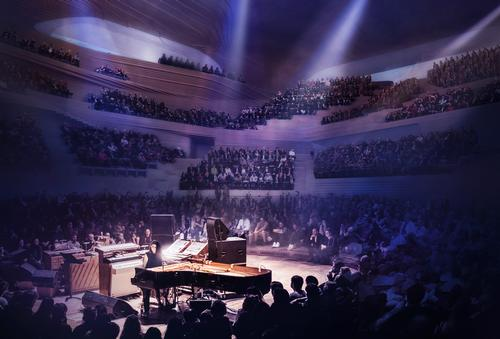 Seating in the concert hall will wrap around the stage on all sides / Diller Scofidio + Renfro