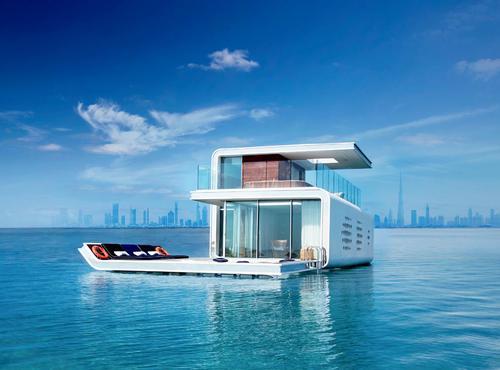 Kleindienst has designed three-layer floating Seahorse villas which are partially submerged underwater / Kleindienst group