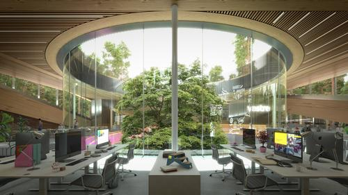 Windows with minimal energy loss and an advanced energy supply system are part of a bid for BREEAM Oustanding status / Vestre/Bjarke Ingles Group