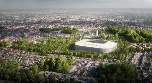 The new stadium will be located at the heart of a new park in Bruges' Sint-Andries district / B2Ai/SCAU