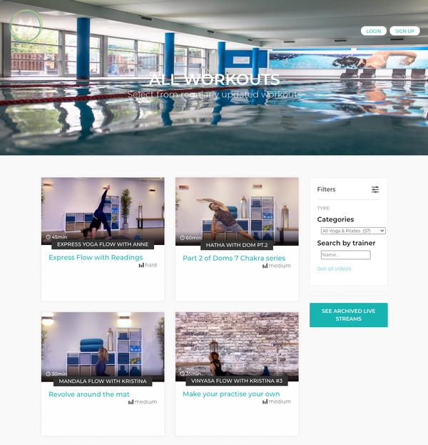 The Venueserve Fitness white label platform is skinned to resemble the Marlow Club's website