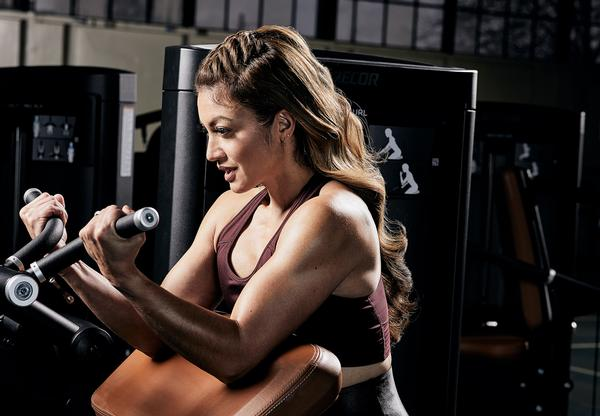 Precor's biceps curl machine: selectorised equipment provides a safe, controlled option for strength training