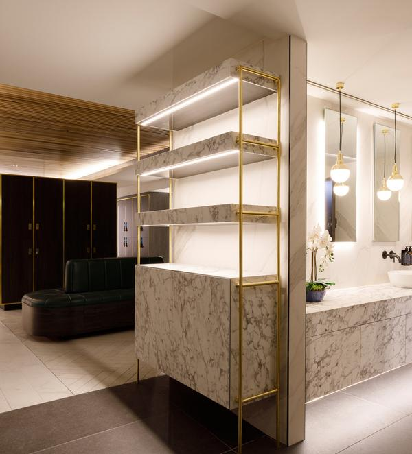Luxurious changing rooms feature shampoos and body washes specially designed by Bourne's wife, Claire