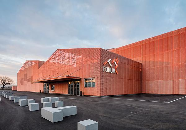 13 rust-coloured blocks form the Forum Saint Louis events and exhibition centre / Photo: Guillaume Guerin