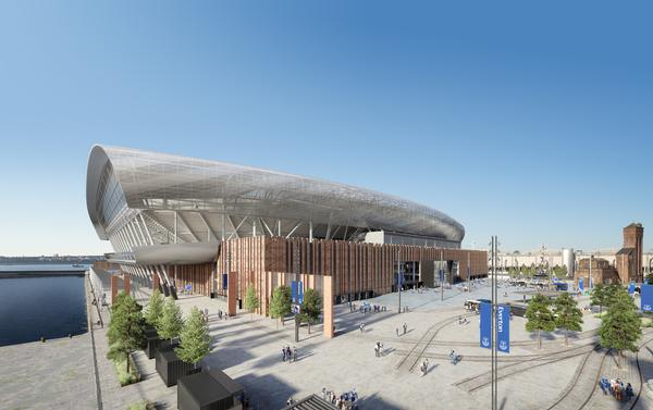 Revised plans for Everton football club's new stadium have been submitted for planning consent