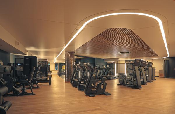 The gym is kitted out with equipment from Technogym