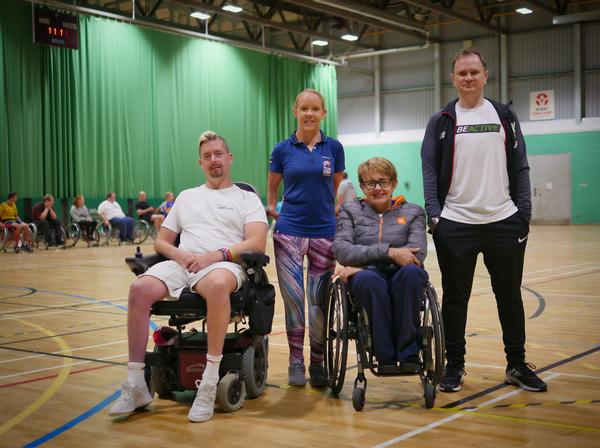 Edwards at Inclusive Sports Day 2019, with ukactive chair Tanni Grey-Thompson, Erin Orford, Para Team GBR and Benny Hutton, Stoke Mandeville Stadium