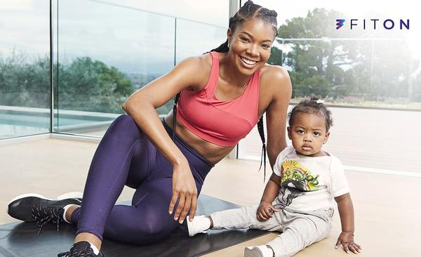 Actress Gabrielle Union has filmed workouts at her home during COVID-19 lockdowns, sometimes introducing her family