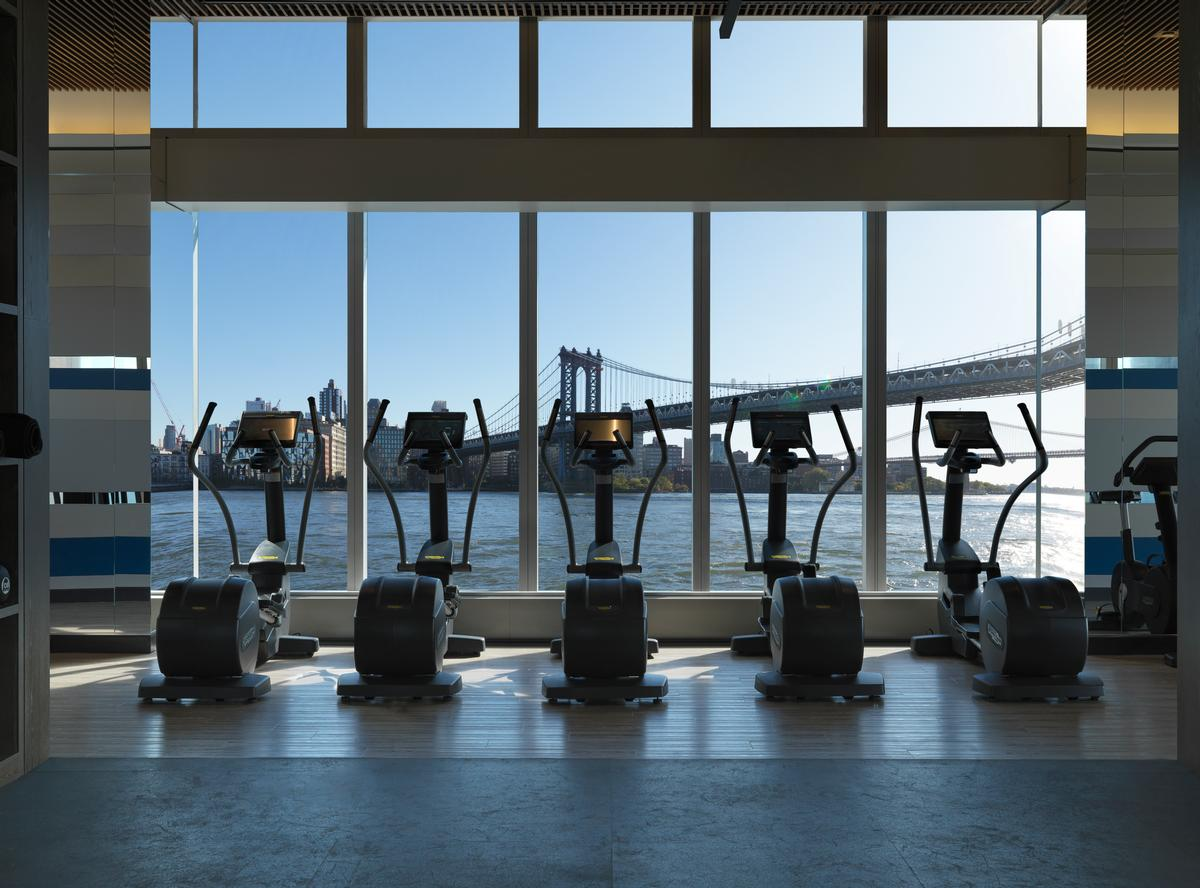 The building's gym will provide views of New York Harbour