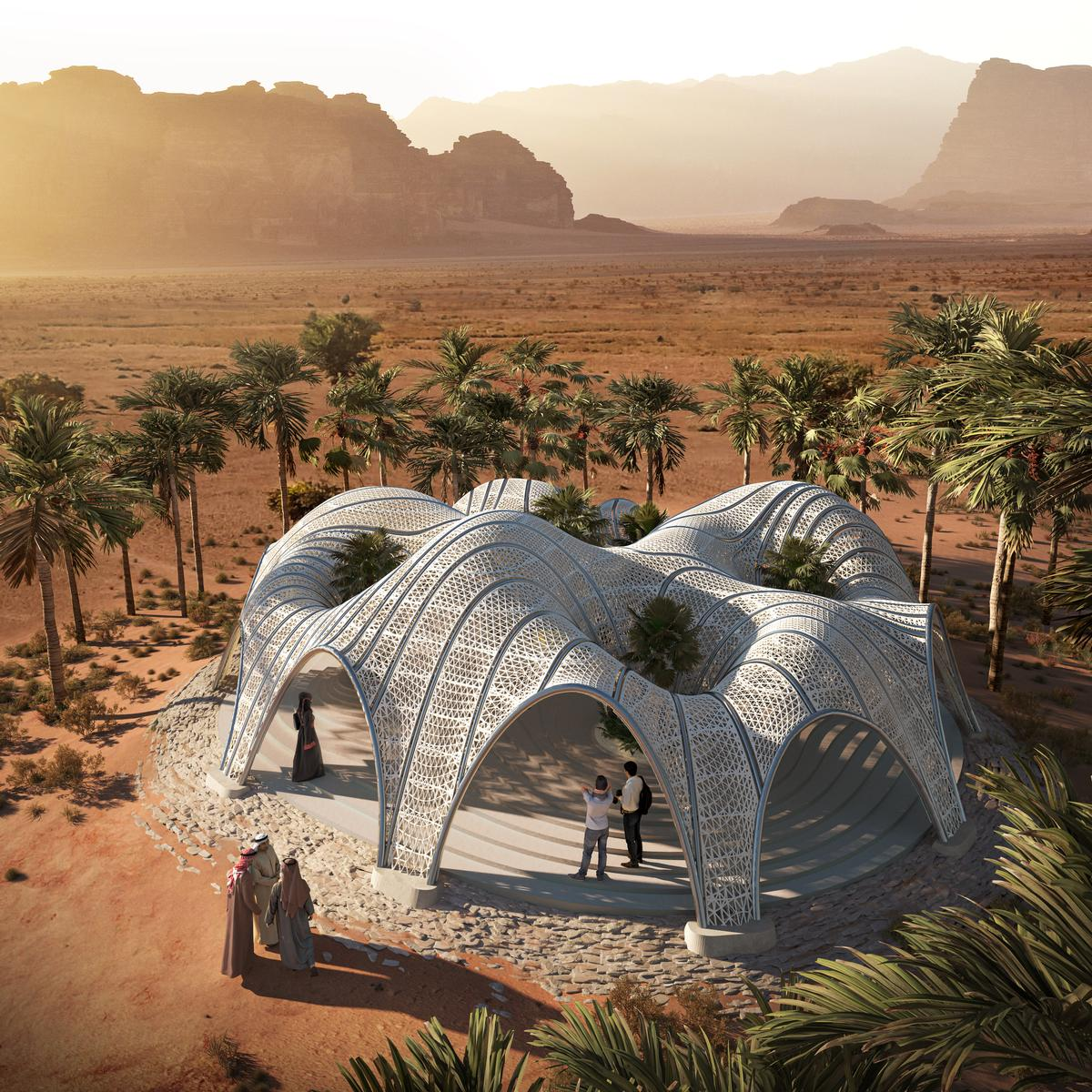 MEAN*'s algorithmically-designed, 3D-printed desert pavilion is an oasis for rest and gathering