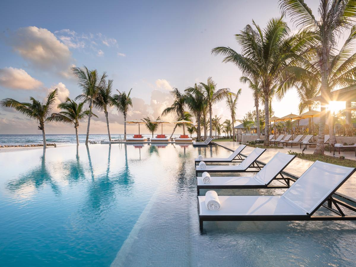 Guests can relax next to the resort's infinity-edge pool