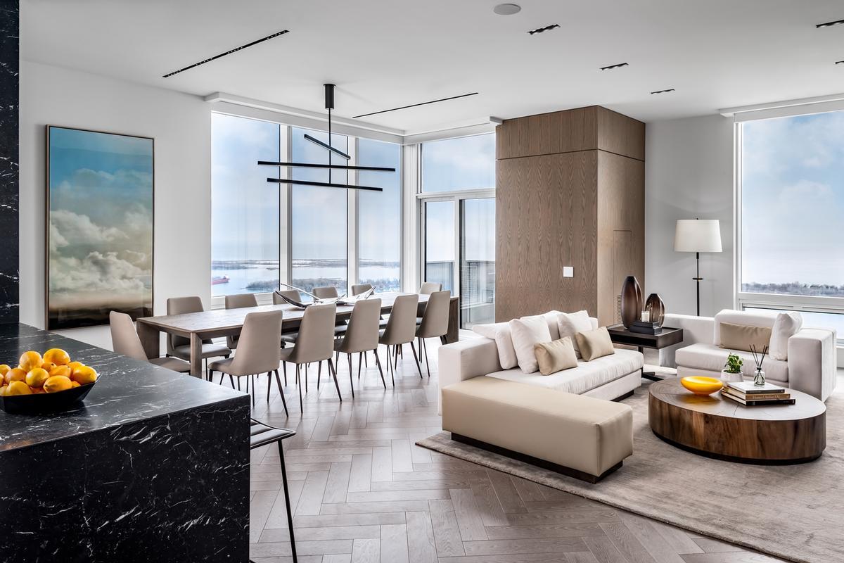 Large windows allow in abundant natural light