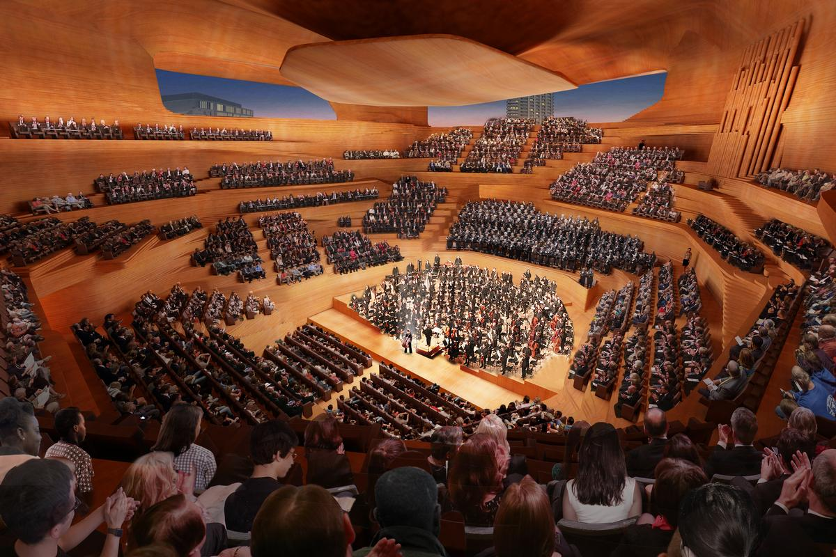 Designs include an 'intimate and inclusive' concert hall for up to 2,000 people / Diller Scofidio + Renfro