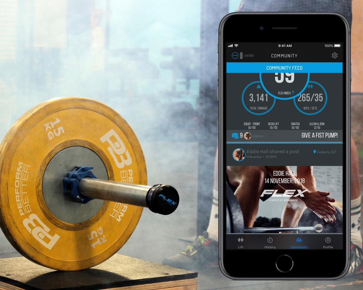 Flex tracks performance data from weight lifting training