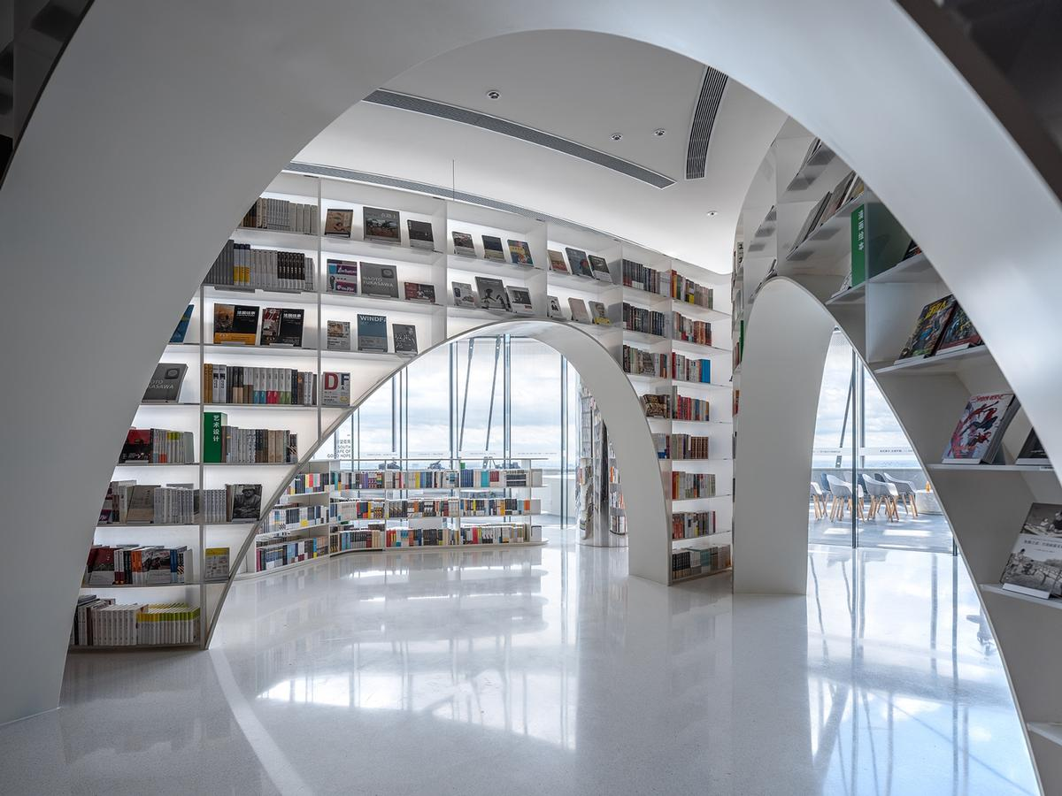 Wutopia's 52nd-floor bookstore gets the bright white treatment
