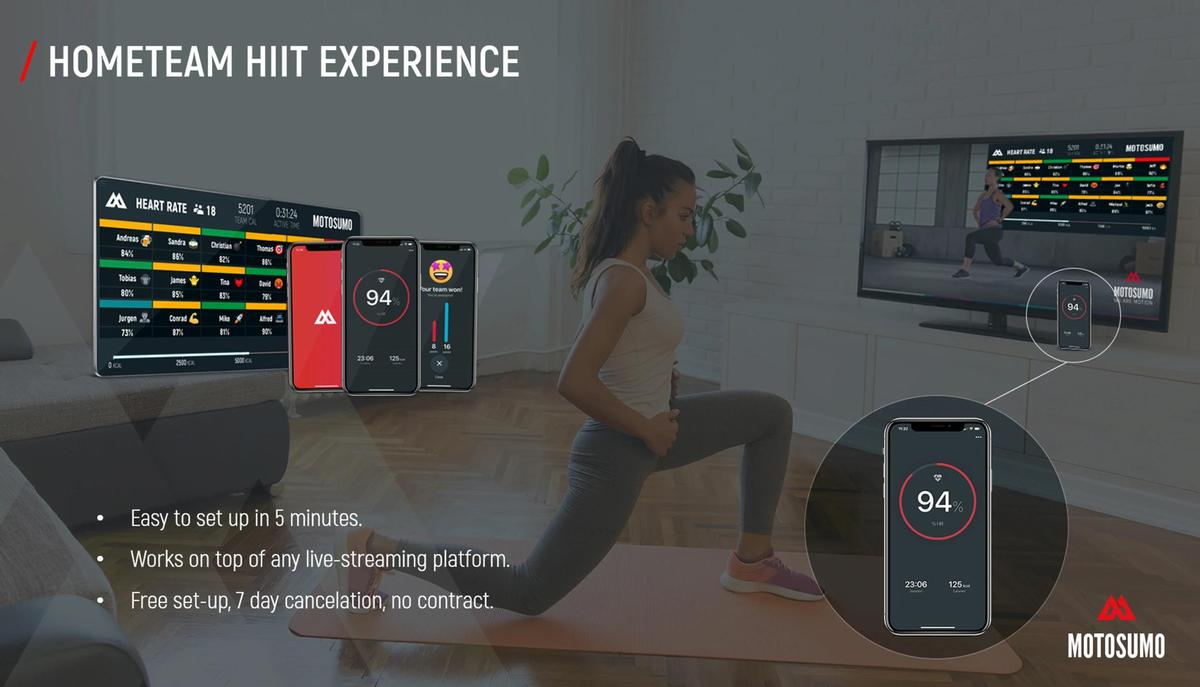 Participants will then be connected through the app, which offers a range of fitness data as well as games, races, countdowns, music and emojis / Motosumo